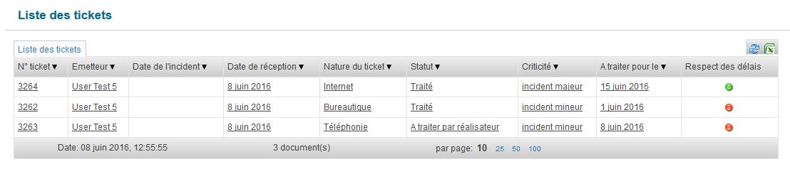 Liste des tickets